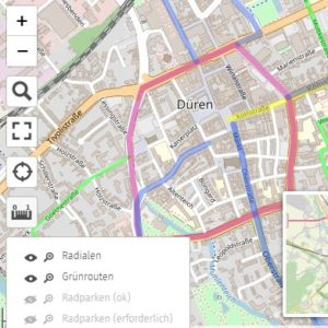 Interaktive Karte zur Dürener Fahrradinfrastruktur
